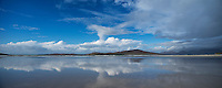 Scenic reflection on Seilebost beach at low tide, Isle of Harris, Scotland