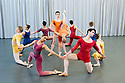 London, UK. 23.04.2015. New English Ballet Theatre rehearses in the studio at Rambert, for their forthcoming production. The piece being rehearsed is ORBITAL MOTION, choreographed by Valentino Zucchetti. The company dancers are: Blue: Abigail Mattox &amp; Paul Oliver<br /> Purple: Chantelle Gotobed &amp; Jason Inniss <br /> Yellow: Emma Lucibello &amp; Niklas Blomkvist <br /> Orange: Chlo&eacute; Lopes Gomes &amp; Ivan Delgado del Rio<br /> Red: Alexandra Cameron-Martin &amp; Gy&ouml;rgy Ba&aacute;n. Photograph &copy; Jane Hobson.