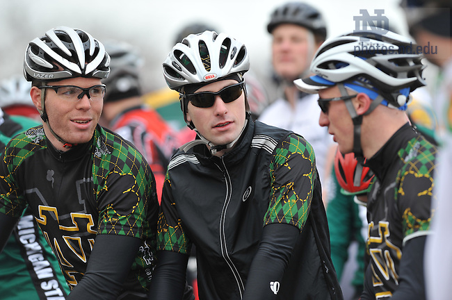 The Notre Dame Cycling team readies for the start of a road course race near Buchanan, Michigan...Photo by Matt Cashore..