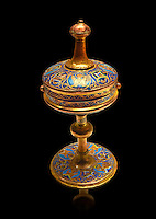 Limoges Gothic goblet cup, circa 1220-1240. Copper engraved with an application of Champlevé enamelling. Origin Unknown. Inv MNAC 4600. National Museum of Catalan Art (MNAC), Barcelona, Spain