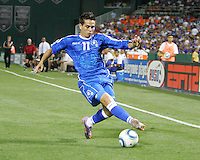 Rudolfo Zelaya #11 of El Salvador controls the ball during an international charity match against D.C. United at RFK Stadium, on June 19 2010 in Washington DC. D.C. United won 1-0.