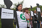 A group of men and women show signs with the names of missing relatives in commemoration of the National Movement of Victims of State Crimes, MOVICE, commemorate this April 9 as the Day of Memory and Solidarity with Victims of crimes state at this time of vital importance to the country because it was from when triggered, significantly, the political conflict, social and armed, that today, after decades, continues in the form of persecution, threats and harassment against land claimants leaders and human rights defenders. In the district there are 13 mass graves containing more than 1000 dead buried in a dump that works in the area. The close calls that dump MOVISE and declare the area as a cemetery. In Colombia, this time away from a transitional or post. More than 60 leaders killed lands (at least 26 of these victims killed between 2010 and 2011), the reengineering of paramilitarism in over 400 municipalities, more than 1,400 displaced people killed since 2007, a development model based on dispossession and displacement.. In Medellín, Colombia. 09/04/2012. Photo by Fredy Amariles/VIEWpress.