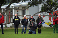 Fans watch the Swindale Shield Wellington premier club rugby match between Oriental-Rongotai and Old Boys-University at Polo Ground in Wellington, New Zealand on Saturday, 29 April 2017. Photo: Dave Lintott / lintottphoto.co.nz