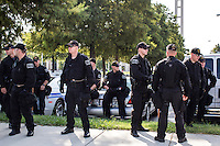 North Carolina Highway Patrol officers gather near the security perimeter for the Democratic National Convention on Monday, September 3, 2012 in Charlotte, NC.