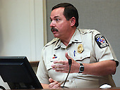 Montgomery County (Maryland) police officer, Derek Baliles, gestures during his testimony in the trial of sniper suspect John Allen Muhammad in courtroom 10 at the Virginia Beach Circuit Court in Virginia Beach, Virginia on October 30, 2003.  Baliles testified that he received a call form a man who said he had information about the sniper shootings. <br /> Credit: Adrin Snider - Pool via CNP