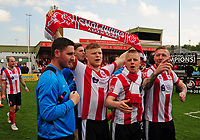 Lincoln City's lead sports scientist Luke Jelly, Elliott Whitehouse, Terry Hawkridge and Alan Power celebrate promotion<br /> <br /> Photographer Andrew Vaughan/CameraSport<br /> <br /> Vanarama National League - Lincoln City v Macclesfield Town - Saturday 22nd April 2017 - Sincil Bank - Lincoln<br /> <br /> World Copyright &copy; 2017 CameraSport. All rights reserved. 43 Linden Ave. Countesthorpe. Leicester. England. LE8 5PG - Tel: +44 (0) 116 277 4147 - admin@camerasport.com - www.camerasport.com