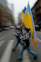 Kids carries Ukrainian flags while Ukrainian immigrants take part in a protest against war in New York. March 2, 2014. Photo by Eduardo Munoz Alvarez/VIEWpress