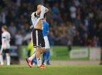 St Johnstone v Rosenborg....25.07.13  Europa League Qualifier<br /> Jonas Svensson hides his face<br /> Picture by Graeme Hart.<br /> Copyright Perthshire Picture Agency<br /> Tel: 01738 623350  Mobile: 07990 594431