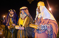 THREE WISE MEN: Models for Christ stage a Live Nativity Scene at Palisades Park on Friday, December 7, 2012.