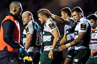 Ed Slater of Leicester Tigers is congratulated on his first-half try. European Rugby Champions Cup match, between Leicester Tigers and Munster Rugby on December 20, 2015 at Welford Road in Leicester, England. Photo by: Patrick Khachfe / JMP