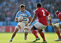 Pablo Matera of Argentina faces off against Elvis Taione of Tonga. Rugby World Cup Pool C match between Argentina and Tonga on October 4, 2015 at Leicester City Stadium in Leicester, England. Photo by: Patrick Khachfe / Onside Images
