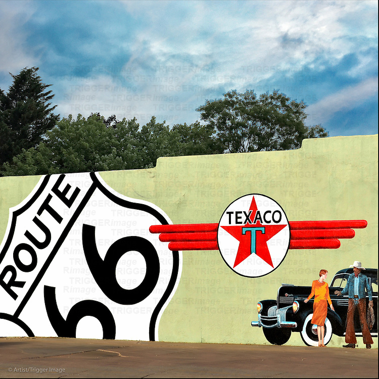 Wall mural with Route 66 and Texaco in USA