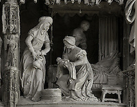 The nativity of Mary, by Jean Soulas, upper scene from the choir screen, 1519-25, Chartres Cathedral, Eure-et-Loir, France. These sculpted scenes show the change in style from Gothic to Renaissance in the early 16th century in France. Chartres cathedral was built 1194-1250 and is a fine example of Gothic architecture. It was declared a UNESCO World Heritage Site in 1979. Picture by Manuel Cohen.