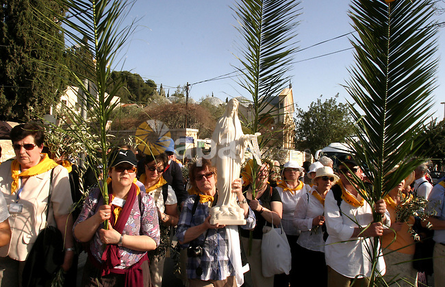 Christian pilgrims march during the traditional Palm Sunday procession from the Mount of Olives to Jerusalem's old city on April 1, 2012. Photo by Mahfouz Abu Turk