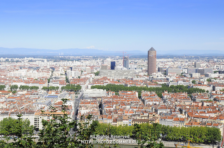 View of Lyon and red tile roofs (France)