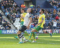 Preston North End's Jordan Hugill sees his volley go wide<br /> <br /> Photographer Mick Walker/CameraSport<br /> <br /> The EFL Sky Bet Championship - Preston North End v Norwich City - Monday 17th April 2017 - Deepdale - Preston<br /> <br /> World Copyright &copy; 2017 CameraSport. All rights reserved. 43 Linden Ave. Countesthorpe. Leicester. England. LE8 5PG - Tel: +44 (0) 116 277 4147 - admin@camerasport.com - www.camerasport.com