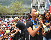 Los Angeles, Ca - Tuesday, July 7, 2015: The USWNT at a post World Cup fan celebration rally at LA Live.