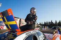 Feb 8, 2015; Pomona, CA, USA; NHRA top alcohol funny car driver Jonnie Lindberg celebrates after winning the Winternationals at Auto Club Raceway at Pomona. Mandatory Credit: Mark J. Rebilas-USA TODAY Sports