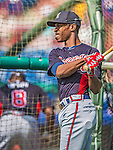 11 March 2013: With his brother Justin ahead of him, Atlanta Braves outfielder B.J. Upton awaits his turn in the batting cage prior to a Spring Training game against the Washington Nationals at Space Coast Stadium in Viera, Florida. The Braves defeated the Nationals 7-2 in Grapefruit League play. Mandatory Credit: Ed Wolfstein Photo *** RAW (NEF) Image File Available ***