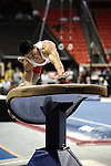 20 APR 2012: Michael Heredia of the University of Oklahoma competes in the Vault during the Division I Men's Gymnastics Championship held at the Lloyd Noble Center on the University of Oklahoma campus in Norman, OK. The University of Oklahoma team finished in second place with a score of 357.45. Stephen Pingry/NCAA Photos