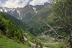 Mountain road descending into French village, Spanish/ French border. Ordesa Park,Pyreneese mountains, Spain.