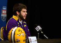 LSU offensive guard Will Blackwell talks with the reporters during BCS Championship LSU Offensive Press Conference at Marriott Hotel at the Convention Center in New Orleans, Louisiana on January 7th, 2012.