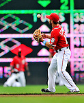 19 June 2011: Washington Nationals' infielder Danny Espinosa handles a throw from Roger Bernadina in the outfield, limiting Derrek Lee to a single in the second inning of play against the Baltimore Orioles at Nationals Park in Washington, District of Columbia. The Orioles defeated the Nationals 7-4 in inter-league play, ending Washington's 8-game winning streak. Mandatory Credit: Ed Wolfstein Photo