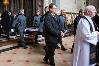 Coffin of late soccer player Jeno Buzanszky is carried out of Saint Stephen's Basilique during his funeral in Budapest, Hungary on January 30, 2015. ATTILA VOLGYI