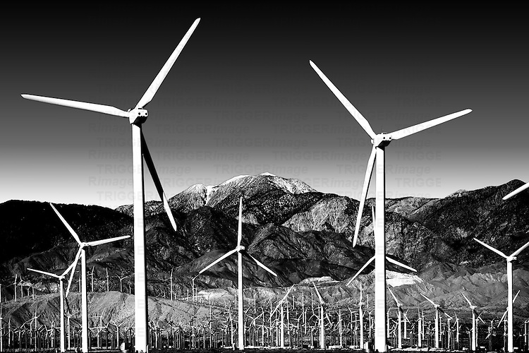 A wind turbine park in front of the the San Jacinto Peak or Mount San Jacinto near Palm Springs.