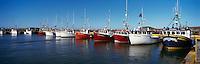 Ile du Havre-Aubert, Iles de la Madeleine, Quebec, Canada - Commercial Fishing Boats docked in Port du Millerand - (Amherst Island, Magdalen Islands) - Panoramic View