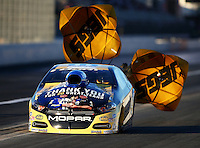 Nov 13, 2015; Pomona, CA, USA; NHRA pro stock driver Allen Johnson during qualifying for the Auto Club Finals at Auto Club Raceway at Pomona. Mandatory Credit: Mark J. Rebilas-USA TODAY Sports