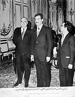 "Paris, France, January 17, 1972..Saddam Hussein received by French President Georges Pompidou.Photograph recovered by Bruno Stevens in the looted ""Triumphant Leader"" museum in Baghdad, entirely dedicated to the glory of Saddam Hussein."