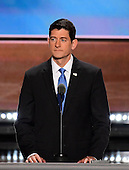 Speaker of the United States House of Representatives Paul Ryan (Republican of Wisconsin) rehearses for his appearance later this evening at the 2016 Republican National Convention held at the Quicken Loans Arena in Cleveland, Ohio on Tuesday, July 19, 2016.<br /> Credit: Ron Sachs / CNP<br /> (RESTRICTION: NO New York or New Jersey Newspapers or newspapers within a 75 mile radius of New York City)