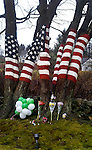 NEWTOWN, CT 17 DECEMBER- 121712CG01- Mourners of the Sandy Hook Elementary School shootings have left balloons, flowers and pictures of the young victims on the flag display at Howard Lasher's house on Route 302 in Newtown. The flag was painted on the trees by David Merrill, an artist who lives in Southbury. Chris Gardner Republican American