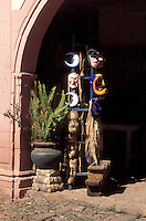 Masks for sale in the Casa de los Once Patios or House of the Eleven Patios in Patzcuaro, Michoacan, Mexico. This former Dominican convent now houses a handicrafts workshops and boutiques.