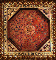 Octagonal stuccoed ceiling with wide plasterwork frieze, Throne room, 1456, the Alcazar of Segovia, 12-16th centuries, Segovia, Spain. First mentioned in 1122 when Segovia was reconquered by Alfonso VI, the castle was updated in the 13th, 15th and 16th centuries, and the interior, strongly influenced by Moorish style, was restored in the 19th century. Picture by Manuel Cohen