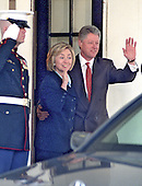 United States President Bill Clinton and first lady Hillary Rodham Clinton wave farewell to King Hussein of Jordan following a meeting at the White House in Washington, D.C on March 19, 1998..Credit: Ron Sachs / CNP