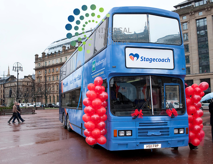 """Brian Souter, Stagecoach Group chief executive unveils a scheme in conjunction with BMI Healthcare which will see a """"Healthy Heart Bus"""" visit depots around the country to check the wellbeing of bus drivers..George Square, Glasgow, G21 3UW. Picture: Euan Anderson/Universal News And Sport (Scotland) 25th February 2010."""