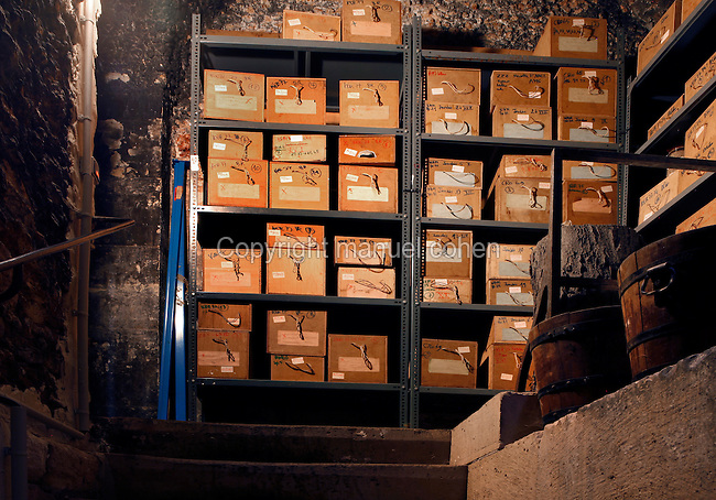 Plant History Glasshouse (formerly Australian Glasshouse), 1830s, Rohault de Fleury, Jardin des Plantes, Museum National d'Histoire Naturelle, Paris, France. Low angle view of the Seed Bank. The seeds are stored in wooden boxes on metal racking.