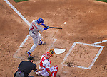 6 April 2015: New York Mets catcher Travis d'Arnaud connects during the Season Opening Game against the Washington Nationals at Nationals Park in Washington, DC. The Mets rallied to defeat the Nationals 3-1 in their first meeting of the 2015 MLB season. Mandatory Credit: Ed Wolfstein Photo *** RAW (NEF) Image File Available ***