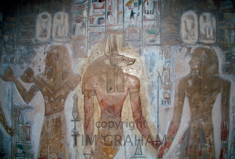 Illustrations in King Seti's tomb in the Valley of the Kings at Luxor in Eqypt