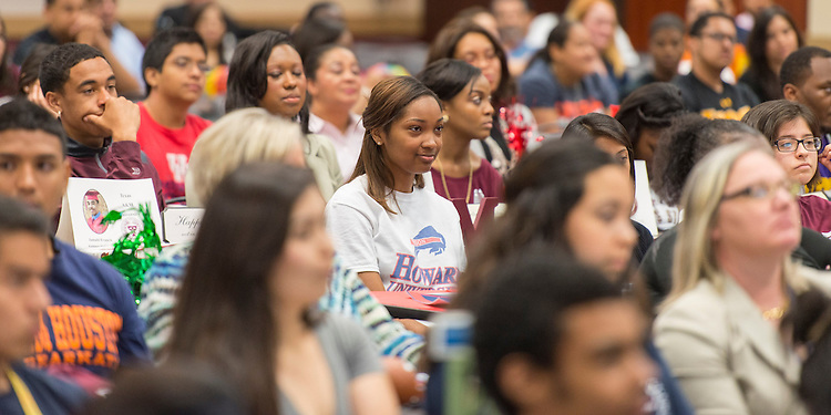 Students listen to comments during the Academic Signing Day activities at the Region 4 Education Center, May 23, 2014.