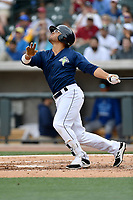 Center fielder Desmond Lindsay (2) of the Columbia Fireflies bats in a game against the Lexington Legends on Sunday, April 23, 2017, at Spirit Communications Park in Columbia, South Carolina. Lexington won, 4-2. (Tom Priddy/Four Seam Images)