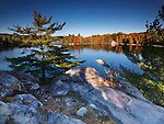 Beautiful fall nature scenery of lake George during sunset. Killarney Provincial Park, Ontario, Canada