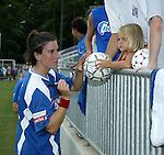 9 August 2003: Birgit Prinz (left) signs autographs after the game. The Carolina Courage tied the Philadelphia Charge 1-1 at SAS Stadium in Cary, NC in the final regular season WUSA game.