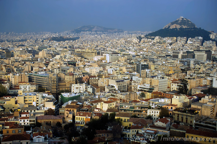 Europe, Greece, Athens. Scenic view of Athens from The Acropolis.