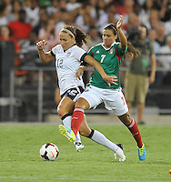 Nayeli Rangel (7) of Mexico goes against Lauren Holiday (12) of the USWNT. The USWNT defeated Mexico 7-0 during an international friendly, at RFK Stadium, Tuesday September 3 , 2013.