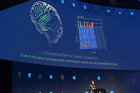 dpatop - Facebook executive Regina Dugan presents a project that would allow people to type in - with the help of sensors - words diretly from their brains into the computer, during Facebook's developer conference F8, in San Jose, California, Us, 19 April 2017. Photo: Andrej Sokolow/dpa /MediaPunch ***FOR USA ONLY***