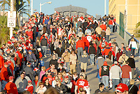 Thousands of University of Wisconsin Badger fans arrive at the  Santa Monica Pier for their official Rose Bowl Pep Rally   on Thursday, December 30, 2010