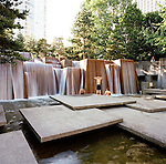 Ira Keller Civic Theatre Forecourt Fountain in Portland, Oregon was inspired by waterfalls in the Cascade Mountains and was designed by architect Lawrence Halprin.